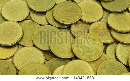 Thai Baht Coins. Coins Of Thailand. Many Of Thai Baht Coins Background.