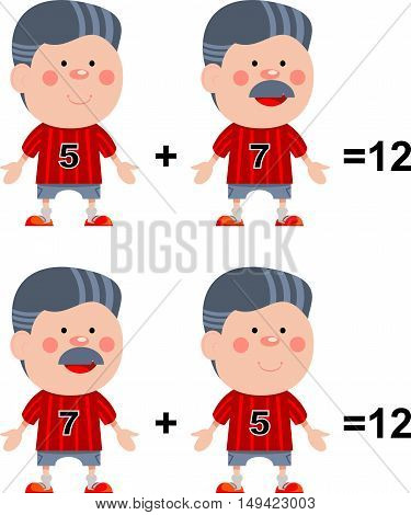 Funny math. Illustration of mathematical rules of addition of numbers