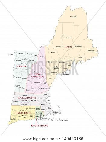 new england states administrative and political map
