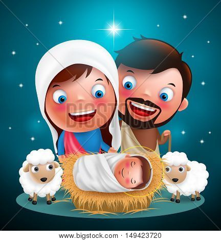 Holy night when jesus born in manger with joseph and mary vector characters for christmas holiday design with stars in background.