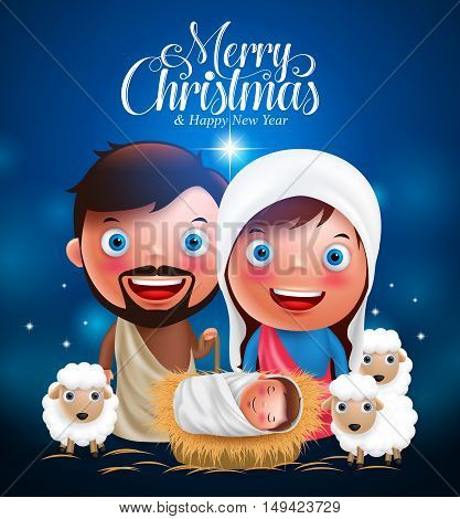 Merry Christmas greetings with jesus born in manger, belen with joseph and mary vector characters  in christmas night.