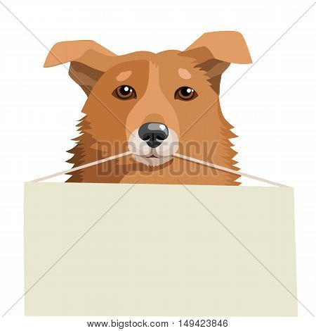 Cute Dog Holding A Blank Sign. Vector Illustration On A White Background. Adoption Dog Near Me. Dog Shelters. Free Animals For Adoption. Search Friend.