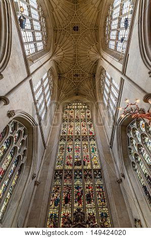 Bath UK - August 15 2015: Vaults of Bath Abbey. Symmetrical low angle view. The abbey is an Anglican parish church and an active place of worship