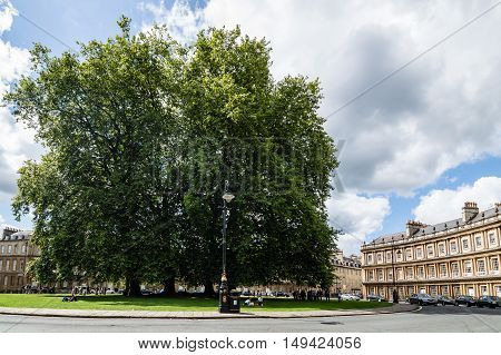 Bath UK - August 15 2015: The famous Circus buildingIt is an example of Georgian architecture in the city of Bath designed by John Wood.