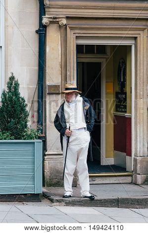 Bath UK - August 15 2015: Doorman in Jane Austen Centre in Bath. he was an English novelist