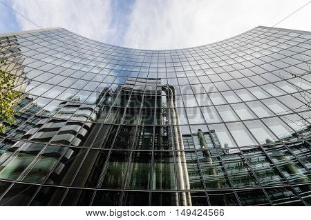 LONDON UK - AUGUST 21 2015: Low angle view of some buildings in the City of London: Lloyds and Willis