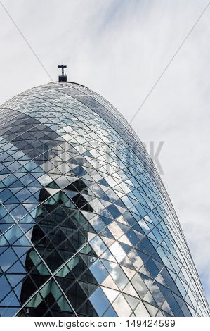 LONDON UK - AUGUST 21 2015: Detail of Gherkin Tower designer by the architect Norman Foster. It´s the headquarters of an insurance company