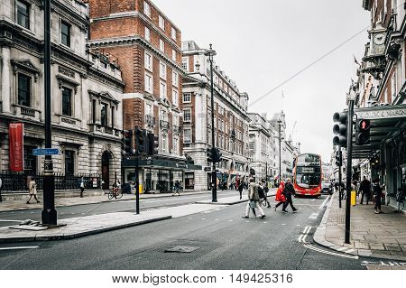 LONDON UK - AUGUST 24 2015: View of Piccadilly Street. Piccadilly Street is a commercial in the City of Westminster London.