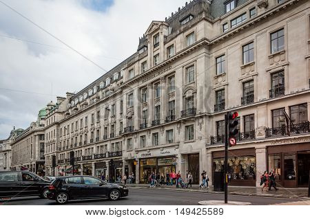 LONDON UK - AUGUST 20 2015: View of Regent Street in London. Regent Street is one of the major shopping streets in Europe.