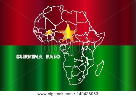 Burkina Faso outline inset into a map of Africa