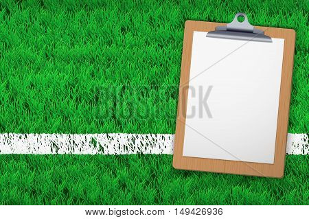 Stadium grass field with Coaching blank clipboard. Closeup For various sport background. Editable Vector illustration Isolated on background.