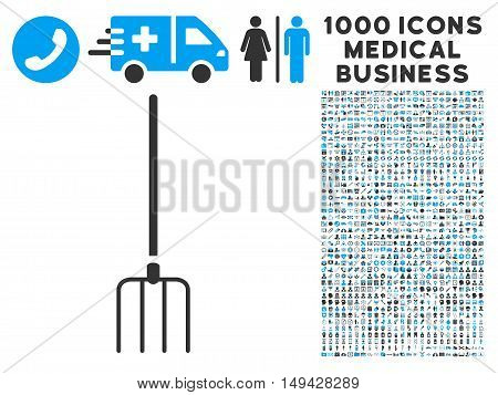 Pitchfork icon with 1000 medical commercial gray and blue vector design elements. Collection style is flat bicolor symbols, white background.