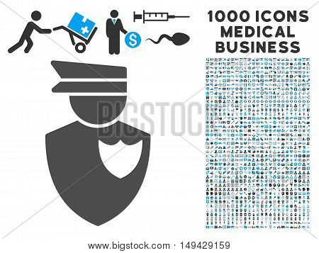 Policeman icon with 1000 medical business gray and blue vector pictograms. Design style is flat bicolor symbols, white background.