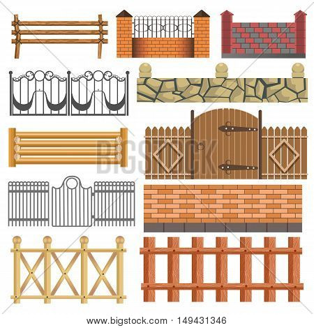 Set of different fence design wooden, metal, stone barriers. Vector fences and gates illustration isolated on white background. Outdoor architecture elements