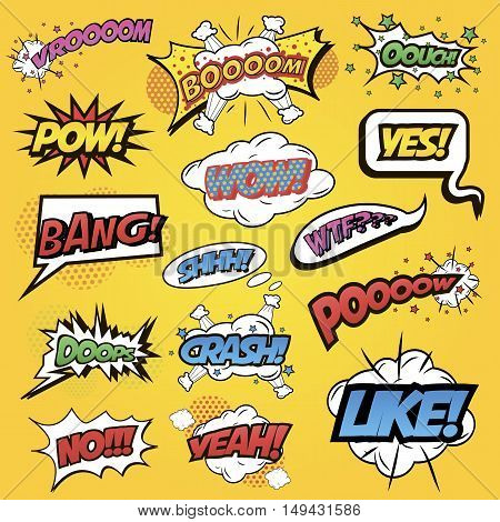 Comics speech and exclamations. Speech bubbles with dialog words for different emotions and sound effects boom, yes, bang, wow. Pop art style. Vector illustration isolated on white background.