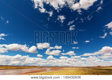 Landscapes in Bolivia, altiplano, desert and green landscapes,  sand and water, sky and earth. Beautiful views of South America