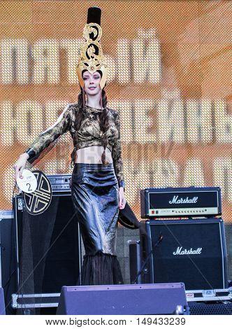 St. Petersburg, Russia - 12 August, Girl, display designer dress,12 August, 2016. Beauty contest