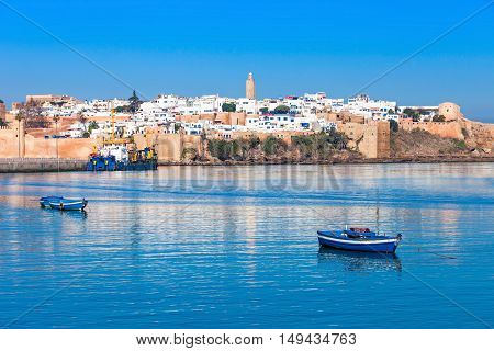River Bou Regreg seafront and Kasbah in medina of Rabat Morocco. Rabat is the capital of Morocco. Rabat is located on the Atlantic Ocean at the mouth of the river Bou Regreg. poster