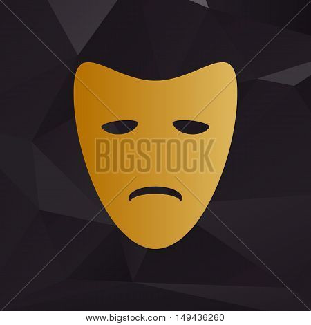 Tragedy Theatrical Masks. Golden Style On Background With Polygons.