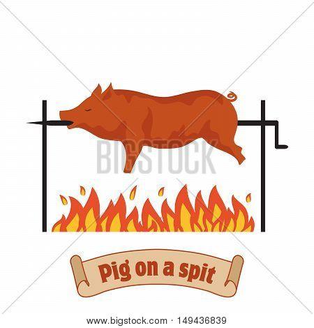 Grilled pig. Pig on spit. Roasting piglet. BBQ pork. Color vector illustration