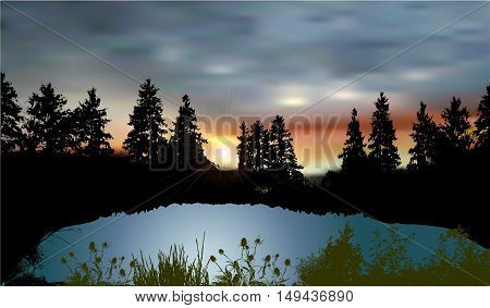 Dark landscape with a mountain lake, silhouettes of trees, plants and sunset. Dark forest landscape with silhouettes of spruces, natural pond and water plants