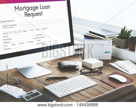 Mortgage Loan Pawn Pledge Refinance Insure Concept