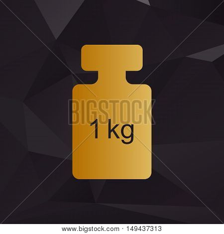 Weight Simple Sign. Golden Style On Background With Polygons.