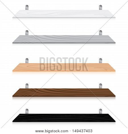 Blank wooden bookshelf set isolated on white background. Multicolored Blank wooden bookshelf set.