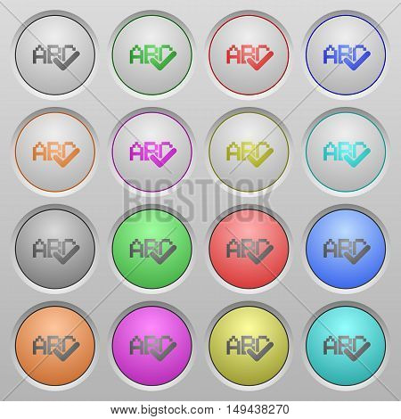 Set of spell check plastic sunk spherical buttons.