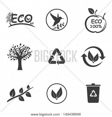 Ecology set icons. Ecology set Vector icons isolated on white background. Flat vector illustration in black. EPS 10