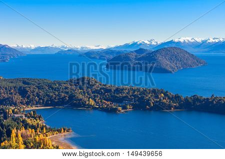 Nahuel Huapi National Lake aerial view from the Cerro Campanario viewpoint in Bariloche Patagonia region of Argentina. poster
