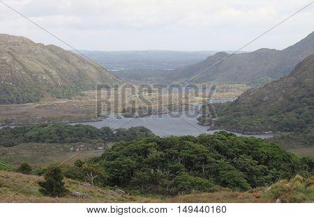 Landscape view of Killarney National Park. Upper Lough Ireland