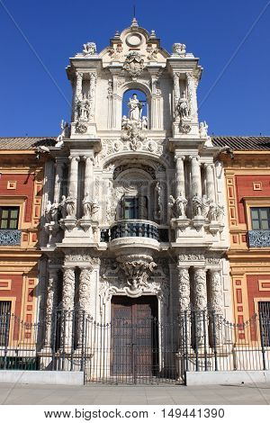 Facade of Saint Telmo Palace in Sevilla Spain