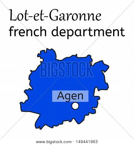Lot-et-Garonne french department map on white in vector