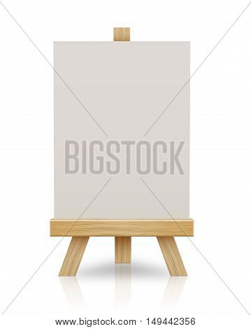 Wooden easel with blank canvas  isolated on a white background