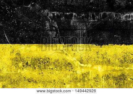 Flag Of Namur, Wallonia Region, Belgium, Painted On Dirty Wall