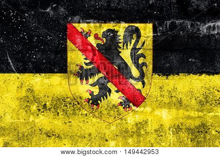 Flag Of Namur With Coat Of Arms, Wallonia Region, Belgium, Painted On Dirty Wall