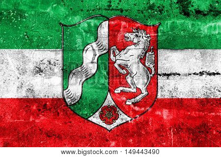 Flag Of North Rhine-westphalia With Coat Of Arms, Germany, Painted On Dirty Wall