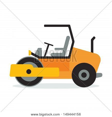 Asphalt compactor flat icon design. Wheeled road paver symbol. Construction machinery vehicle sign. Vector illustration