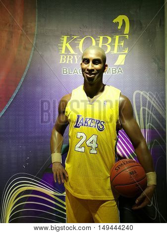 Da Nang, Vietnam - Jun 20, 2016: Kobe Bryant wax statue on display at Ba Na Hills mountain resort. Bryant is an American retired professional basketball player and businessman.