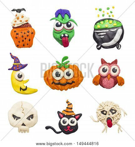A big set of colorful clay handmade elements for Halloween.