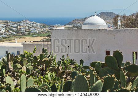 White church and landscape of Mykonos island, Cyclades, Greece