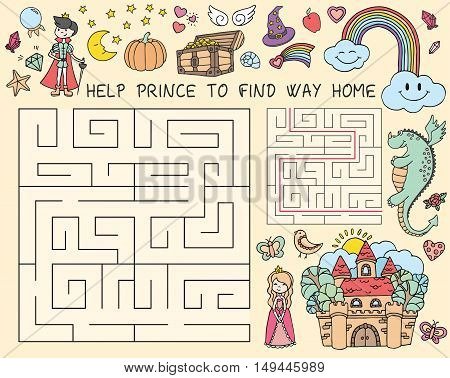 Vector hand drawn doodle illustration of maze with fairy tales characters. Educational game for children. Game maze