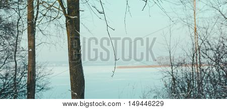 Winter landscape on the frozen lake in janiary
