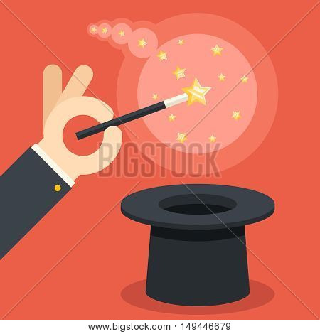 Magician hand holding magic wand cylinder hat flat design vector illustration