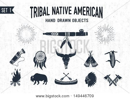 Hand drawn tribal icons set with peace pipe dream catcher buffalo skull teepee corn bonfire buffalo canoe chief and tomahawks vector illustrations.