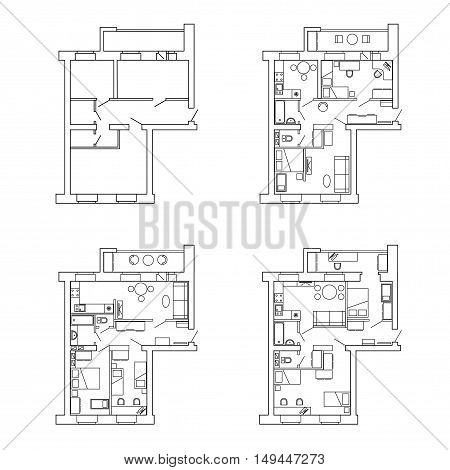 Plan for apartments before and after redevelopment with furniture.House interior. Black and White floor plan of a modern apartment. Vector blueprint. Architectural background.