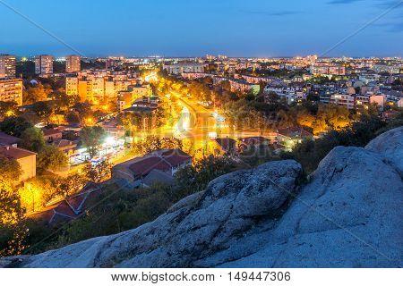 Night Panorama of city of Plovdiv from Nebet tepe hill, Bulgaria