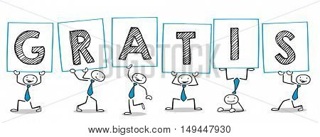 Cartoon business people holding sign reading german word