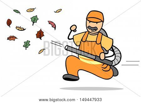 Garbageman with leaf blower illustration cleaning leaves